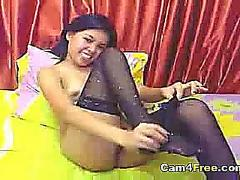 Hot asian teen fingers herself on webcam