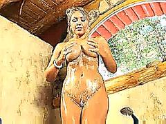 Anette soaps her juggs
