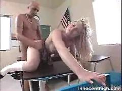 Alluring blonde chick kylee reese gets rammed by her prof in doggy position