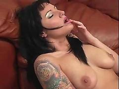 Tattoo girl masturbates on the floor