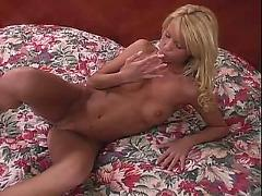 Hot blonde masturbates in bedroom