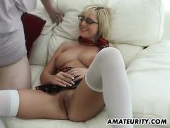 Busty amateur girlfriend home action with cumshot on tits