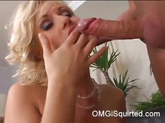 Classy blonde squirts when she's on top