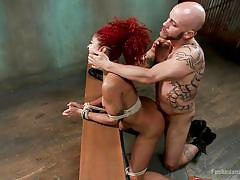 milf, bdsm, ebony, interracial, redhead, tied up, from behind, frizzy hair, prison cell, dungeon sex, kink, daisy ducati, derrick pierce