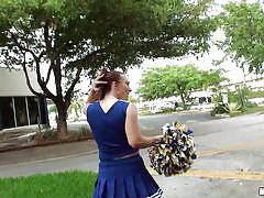 Cheerleader sucks me off in the backyard