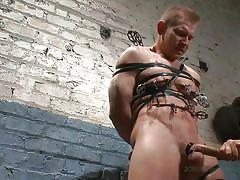 Tied up gay sex slave gets a shower