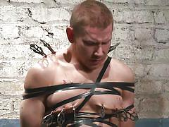tied up, gay, clamps, water bdsm, 30 minutes of torment, kink men, alex adams