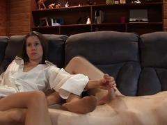 Footjob and handjob in pantyhose while watching tv