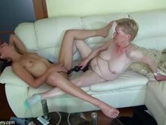 Old granny masturbating with young girl and her dildo