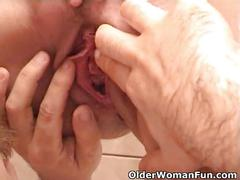 Busty grandma sucks grandpa's tiny cock