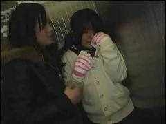 Teengirl first lesbian sex in elevator 1