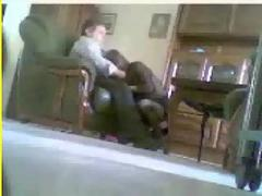Hidden cam caught mom and dad having fun in livingroom