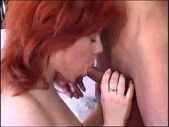 Hot redhead takes a pole in her ass and eats cum  fm 14