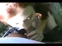 Hot outdoor redhead facial fg09