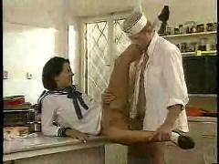 Teenage babe fucking with chef