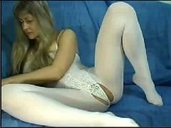 Webcam milf in white catsuit