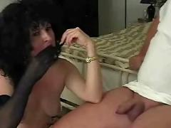 Nylon mom strips for old guy then jerks him off