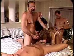 Watching his old wife exploited by 3 hard cocks.f70