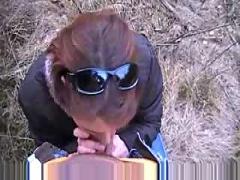 Amateur german outdoor blowjob