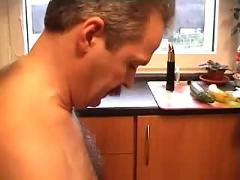 Horny mature whore giving blowjob  and  fucking in kitchen