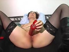 Orgasm with a red vibrator