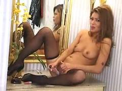 Charmane star  asian pornstar satisfies herself in the bathroom asian japanese