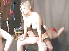 bondage, fetish, threesome, smoking, cuckold, mmf, bi, kinky, blonde, cowgirl, rimming, reverse-cowgirl, pussy-licking, shaved, creampie, busty