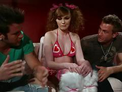 Sexy redhead marie mccray enjoys two cocks