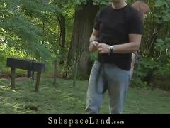 Lora summer all tied up at the forest and fucked