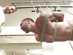 threesome, handjob, bdsm, ass fingering, tied up, mouth fuck, suspended, gym, gay, men on edge, kink men, colt rivers