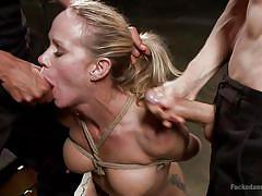 Knelt blondie mouth fucked and double penetrated