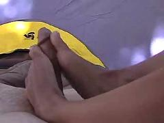 Girlfriend footjob in tent