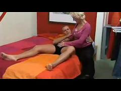 Blond busty mother loves to fuck  with her young son