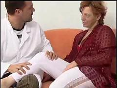 Hairy mature woman gets anal and facial by her crazy doctor