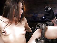 pain, caning, bdsm, babe, brunette, ball gag, nipple clamps, metal bondage, device bondage, kink, the pope, kimber woods