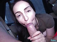 She's got her tits out and her mouth around my cock