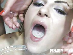 Milena swallows 50 huge mouthful cumshots