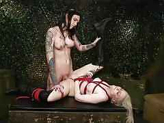 tranny, bdsm, face fuck, big tits, latex, pussy eating, rope bondage, tattooed, army, military, ts pussy hunters, kink, chelsea marie, arielle aquinas