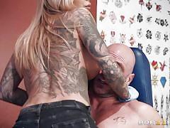 tattoo, blonde, big tits, babe, deepthroat, big dick, ball sucking, porn stars like it big, brazzers, johnny sins, karma rx