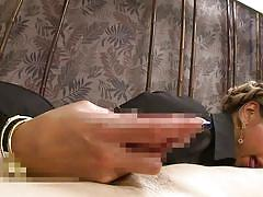 Stunning japanese porn legend sucks cock and rides it