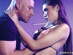 Asian stripper jerks and sucks