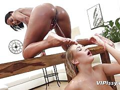 Absolutely soaking wet and wild lesbian sex session