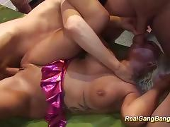 Gangbang orgy with big tits tattooed milf