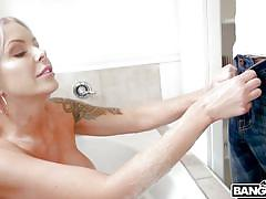 Guy watching big titted blonde masturbating in shower