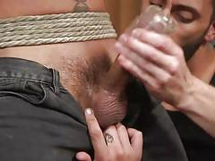blindfolded, rope bondage, bdsm, nipple clamps, threesome, anal, dildo, torture, fingering, men on edge, kink men, cesar xes