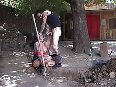 Big tit tattooed brunette enjoying an outdoor deepthroat