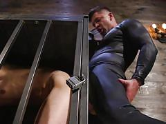 Rough anal with the caged sex-slave
