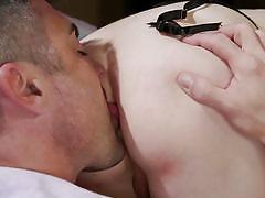 Alluring blonde tranny seduces a man