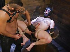 mouth gag, bdsm, big cock, nipple clamps, handjob, deepthroat, anal, pierced dick, mask, butt plug, bound gods, kink men, brian bonds, jonah fontana