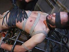 blindfolded, rope bondage, bdsm, cock torture, whipping, handjob, cock sucking, bound gods, kink men, myles landon, chance summerlin